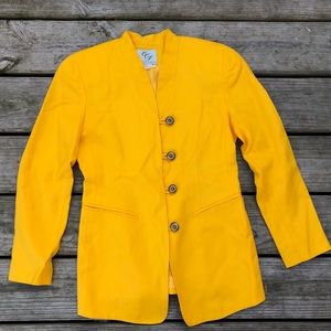 Vintage CCJ button up yellow fitted blazer